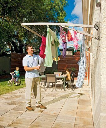 Wall-mounted clothes line - you don't need that much space for your line-drying.