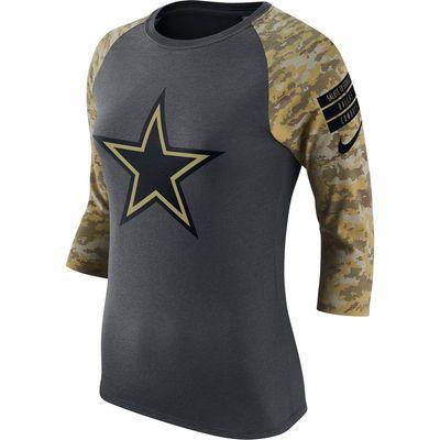 Dallas Cowboys Nike Women's Salute to Service Performance 3/4-Sleeve Raglan T-Shirt - Charcoal/Camo