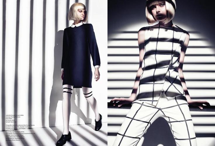 Fashion Magazine (Poland) - OP ART by LUKASZ BRZESKIEWICZ model: Ewa Brzyska styling: Szymon Duzy MUA: Gosia Sulima Hair: Aleksandra Foka Przyluska producer: Beata Gladysz