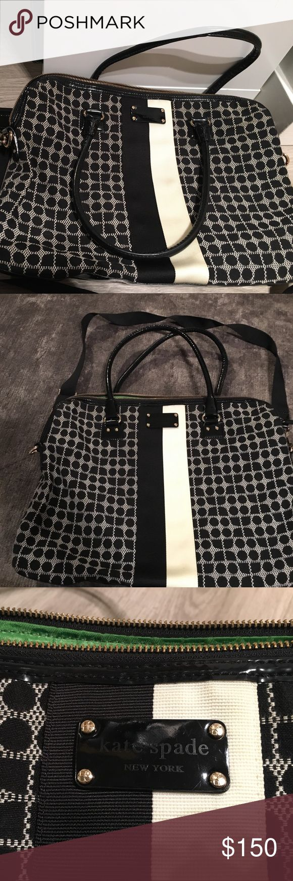 "Kate Spade laptop bag Kate Spade black and white laptop bag. Holds up to 15"" laptop and other items. Perfect for work and going out after. Used only once. kate spade Bags Laptop Bags"