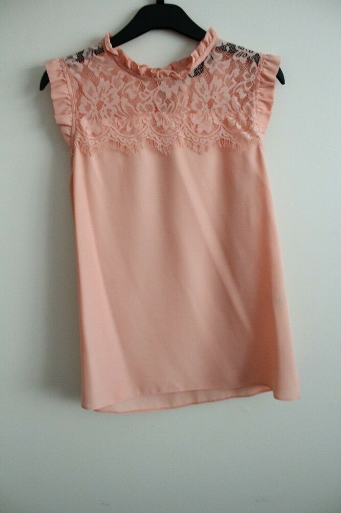 c726a7ea9a2db2 UK NEW Womens Clothing Summer Peach Dorothy Perkins Lace Formal Top  #fashion #clothing #