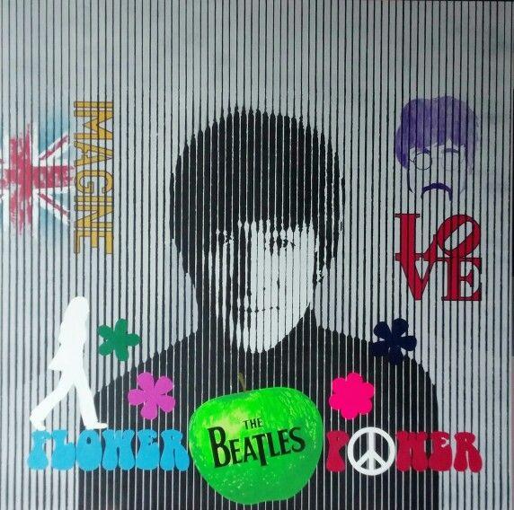 John Lennon in progress Acrylic on canvas 100x100cm #Music #icons #lennon #love #uk #flower #Art #contemporary #modern #interior