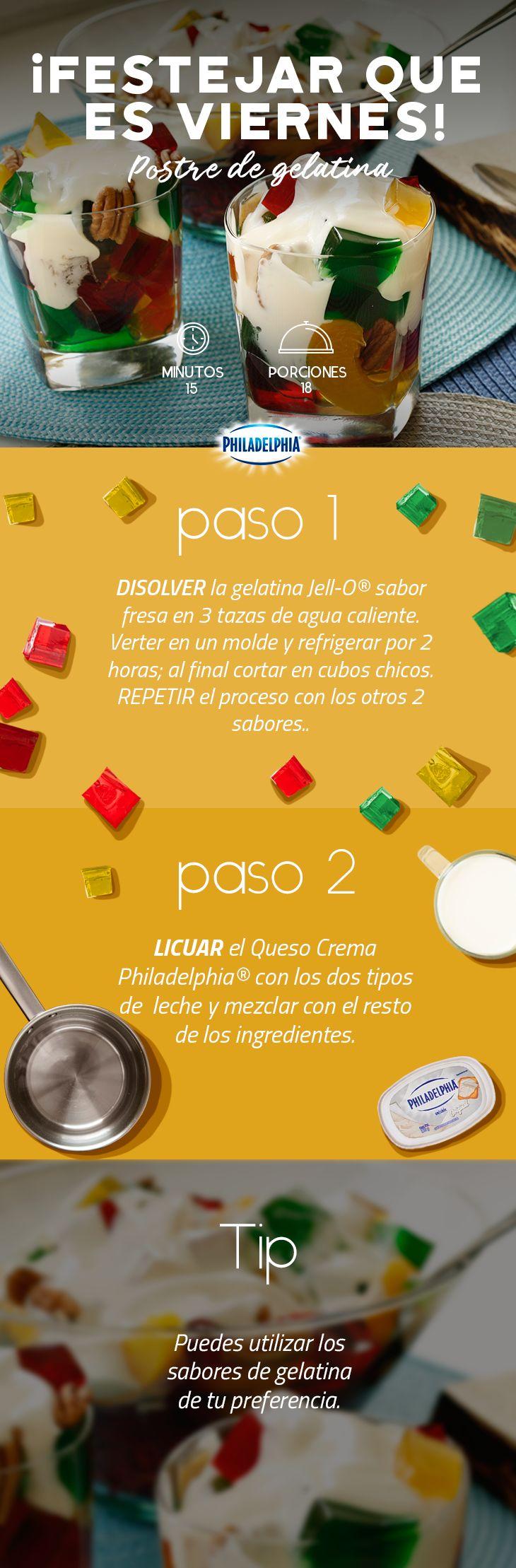 Celebra con tu peque este fin de semana y sorpréndelo con este rico postre. #recetas #receta #quesophiladelphia #philadelphia #crema #quesocrema #queso #postre #niños #gelatina #dulces