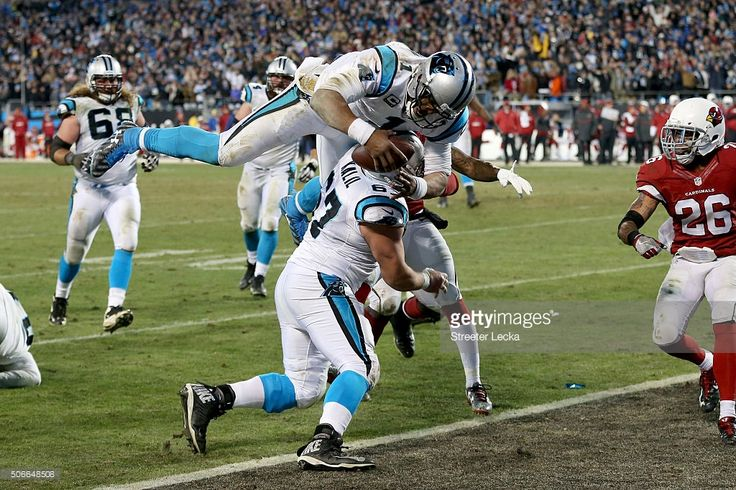 Cam Newton #1 of the Carolina Panthers scores a touchdown in the third quarter against the Arizona Cardinals during the NFC Championship Game at Bank of America Stadium on January 24, 2016 in Charlotte, North Carolina.