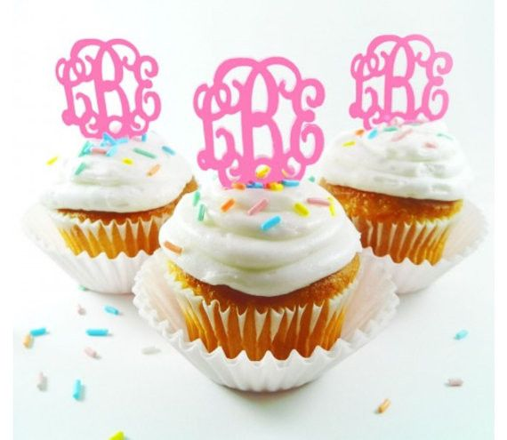 "These unique monogram cupcake toppers come in a set of 6. They are the interlocking font and come in a variety of color. They are acrylic and are easy to clean. They measure 1.5"" x 1.5"" this is not in"