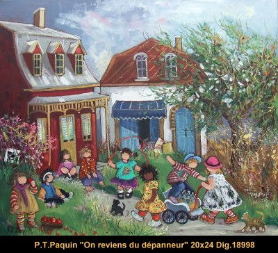 Original oil painting on canevas by Paulin Paquin  #paulinepaquin #art #artist #canadianartist #quebecartist #children #playing #originalpainting #oil #balcondart #multiartltee