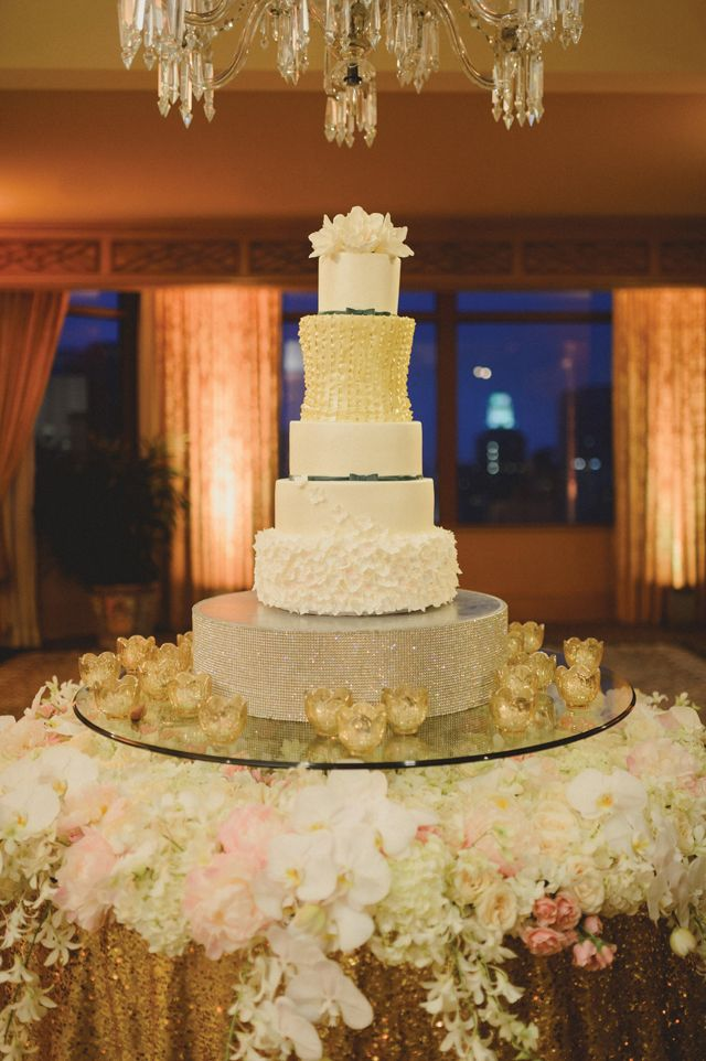 wedding cakes los angeles prices%0A Opulent Gold Wedding in New Orleans  Christine   Kirollos