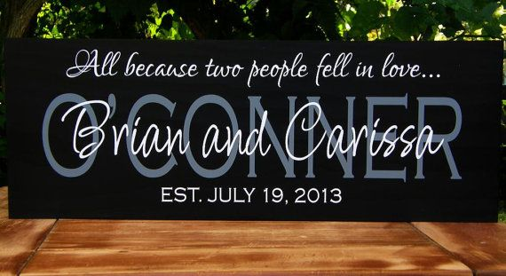 Personalized wedding gifts, Family name established date sign Bridal Shower Gift Wood sign established date, parents anniversary gift This personalized name sign with established date, makes the perfect unique wedding gift. It is hand painted with Black satin and has Grey and White