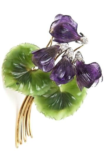 An 18k Yellow Gold, Diamond, Carved Amethyst and Carved Jade Violet Flower Brooch.