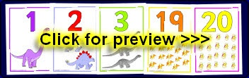 Dinosaur-themed number display resources