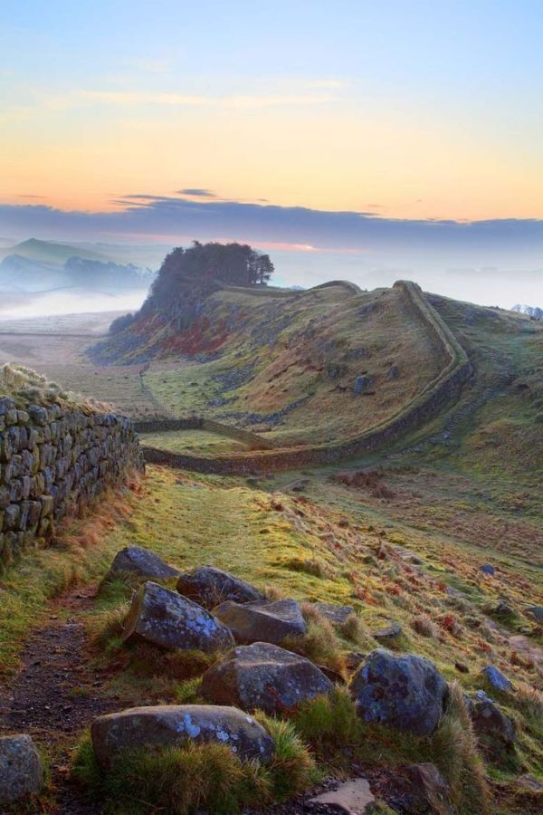 Hadrian's Wall, England: a defensive fortification in Roman Britain. Built 122 AD, the first of two fortifications, the second being Antonine Wall. It is opn national cycle route 72, a UNESCO world Heritage site (1987). Most popular tourist site in N. Eng, most important monument built by Romans in Britian. by melba