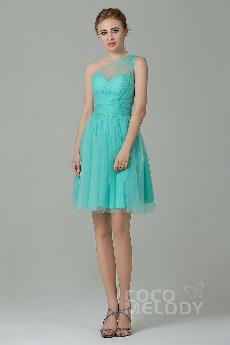 Royal blue chiffon one shoulder bridesmaid dresses with side split - Sweet One Shoulder Natural Short Mini Tulle Sleeveless Side Zipper Bridesmaid Dress Lozm1503f