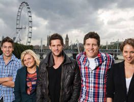 Fun in London for Steve Peacocke, Dan Ewing, Lincoln Younes, Bonnie Sveen, Lisa Gormley and crew.