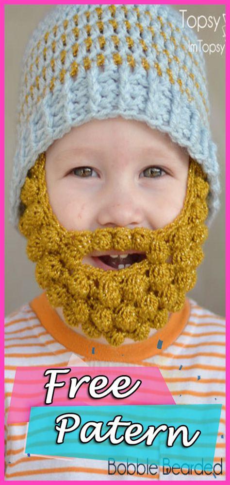 f9b1f5df53b Bobble Bearded Beanie Crochet Free Pattern – DIY Hat  crochet  freepattern   crochetpattern