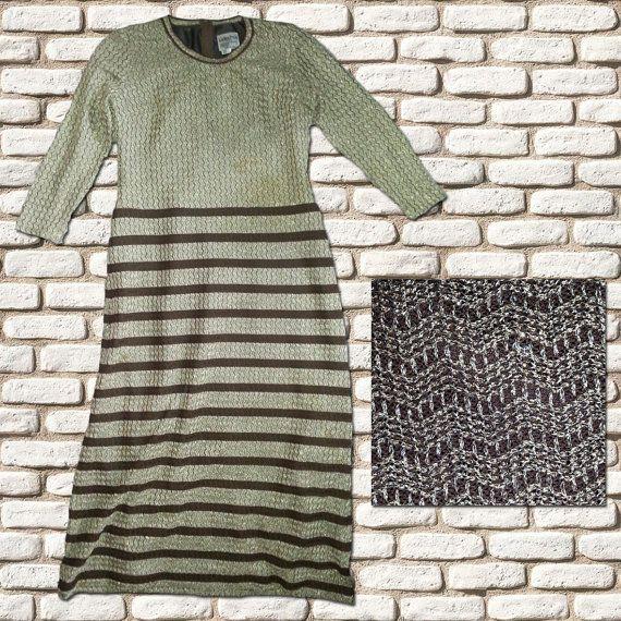 Gold & Brown Stripe Evening Dress by BessieMidge on Etsy, £30.00