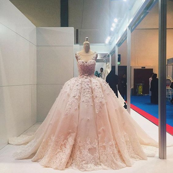 Applique Quinceanera Dress,Illusion Ball Gown,Floral Prom Dress,Fashion Prom