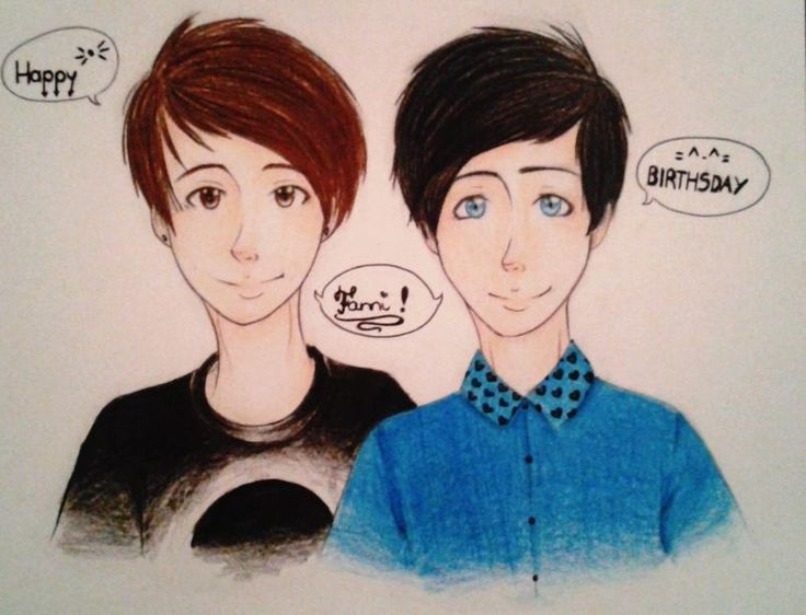 """Dan Howell and Phil lester wip portraits, from my best frined, Fanni ^^..with bad english ^^"""""""
