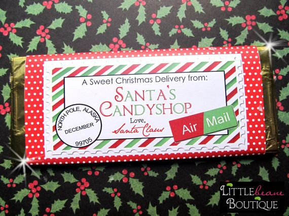 Printable Christmas Candy  Bar Wrappers, DIY, Holiday wrappers, Hershey Wrappers, Children, Kids, Favor. $8.00, via Etsy.
