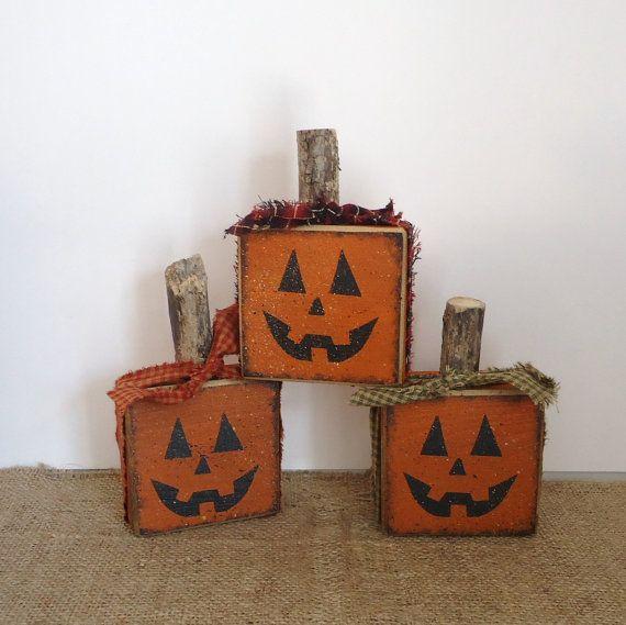 Halloween Pumpkins Jack o lanterns Country Primitive fall