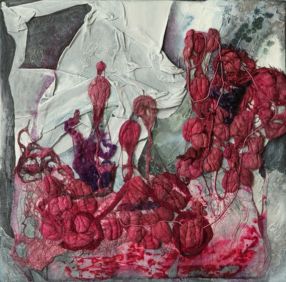 Constructed silk fibres, silk screen printed calico, mixed threads, acrylics on stretched  cotton canvas