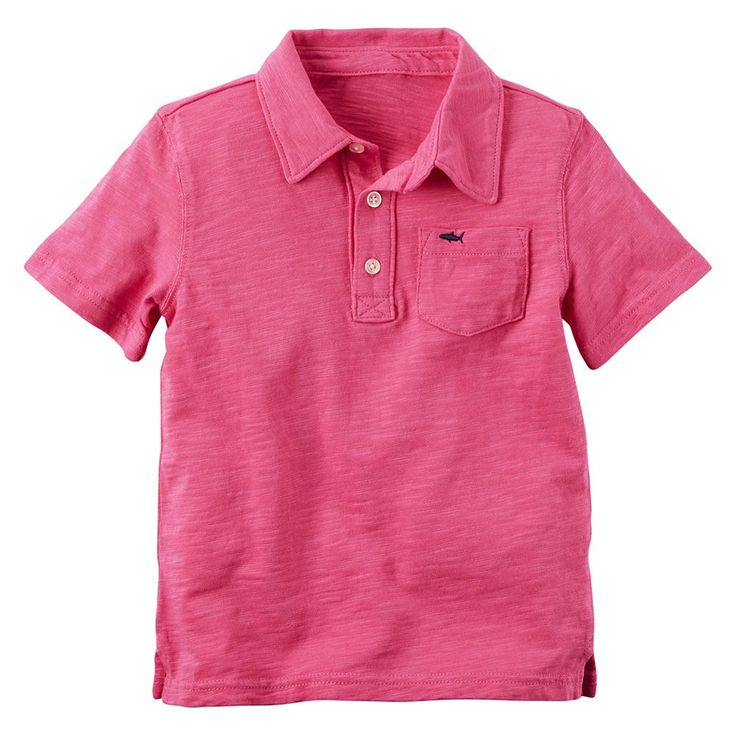Toddler Boy Carter's Short Sleeve Slubbed Solid Polo Shirt, Size: 4T, Brt Pink