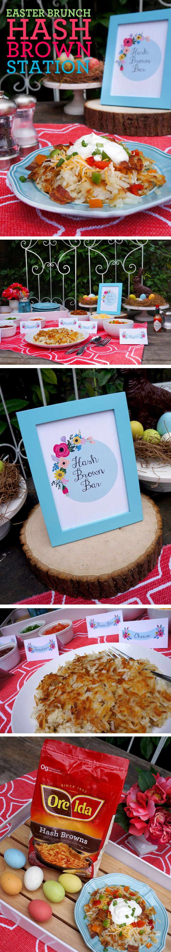 Hash Brown Station for Easter Brunch   Free printables  #easter #brunch #freeprintables