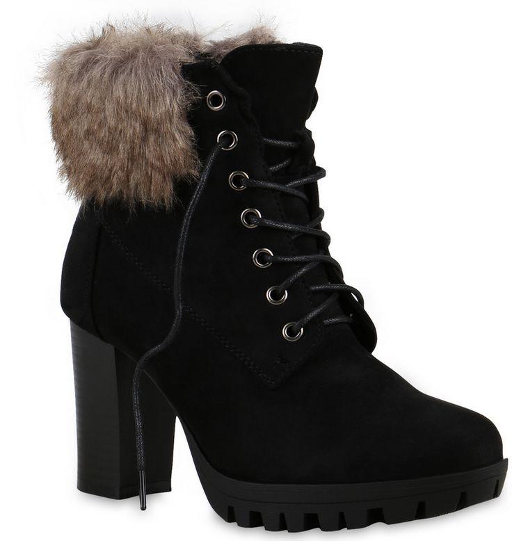Kuschelige Schnürstiefeletten halten deine Füße warm. Gefunden auf stiefelparadies.de #Stiefeletten #Damenschuhe