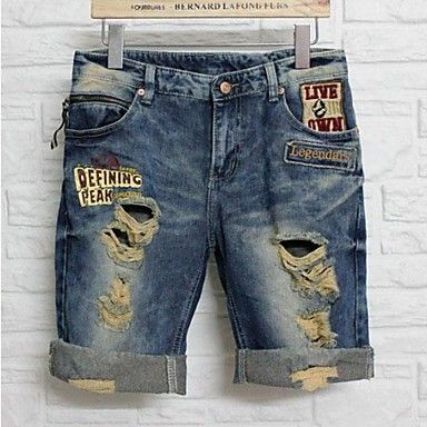 Summer Lover's Men and Women Holes Denim Jeans Capris – USD $ 40.99
