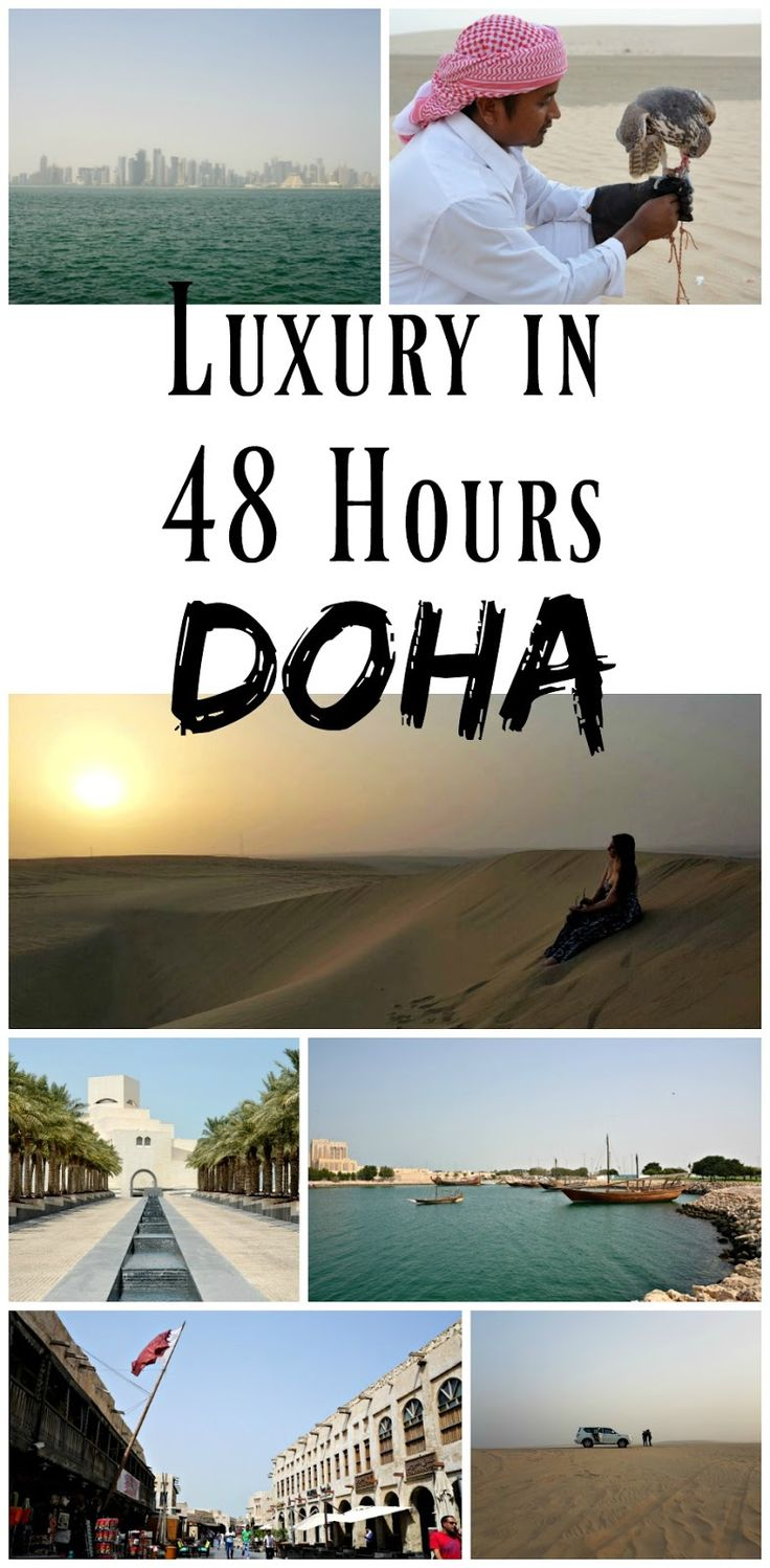 *Pin For Later* The perfect guide to spending a luxurious 48 hours in Doha, Qatar! From seeing the city, the souk, and the nightlife, to heading out into the desert on a sand dune excursion!