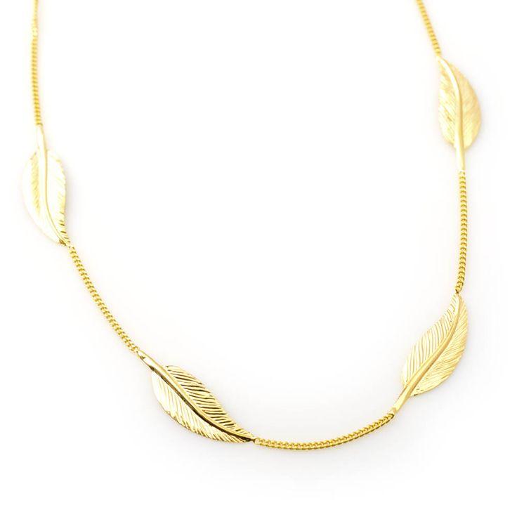 #Bijou Femme :: #Collier 4 grandes #plumes - Disponible en #Or Blanc ou en Or Jaune.