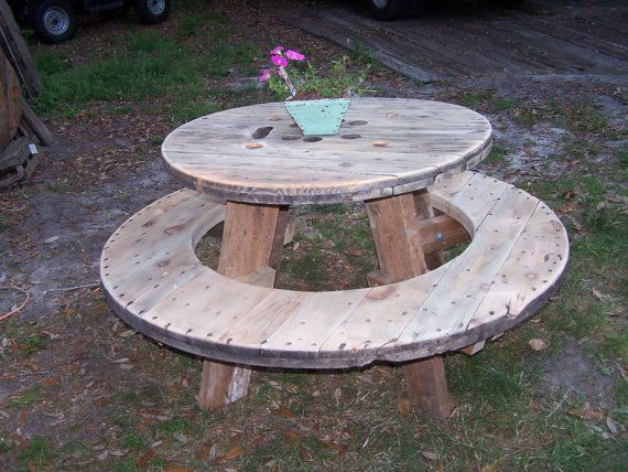 Round Picnic Table made from Spindle Ends and Recycled Reclaimed Wood via Etsy