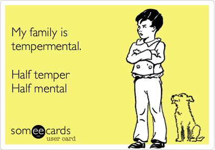 My family is tempermental. Half temper Half mental (HAHA...love it!)
