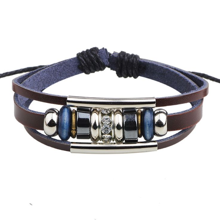 QN Foreign Trade Genuine Leather Restore Ancient Bracelet Black Drill Circle Parts Star With Fund Cowhide Decorate