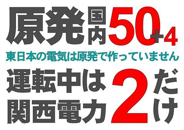 プラカード【東日本版】作りました【原発 国内50+4 運転中は関西電力2だけ / 東日本の電気は原発で作っていません】 セブンイレブンネットプリント  #45419592 有効期限 5/29 ご希望の方には他の地名でお作り致します。
