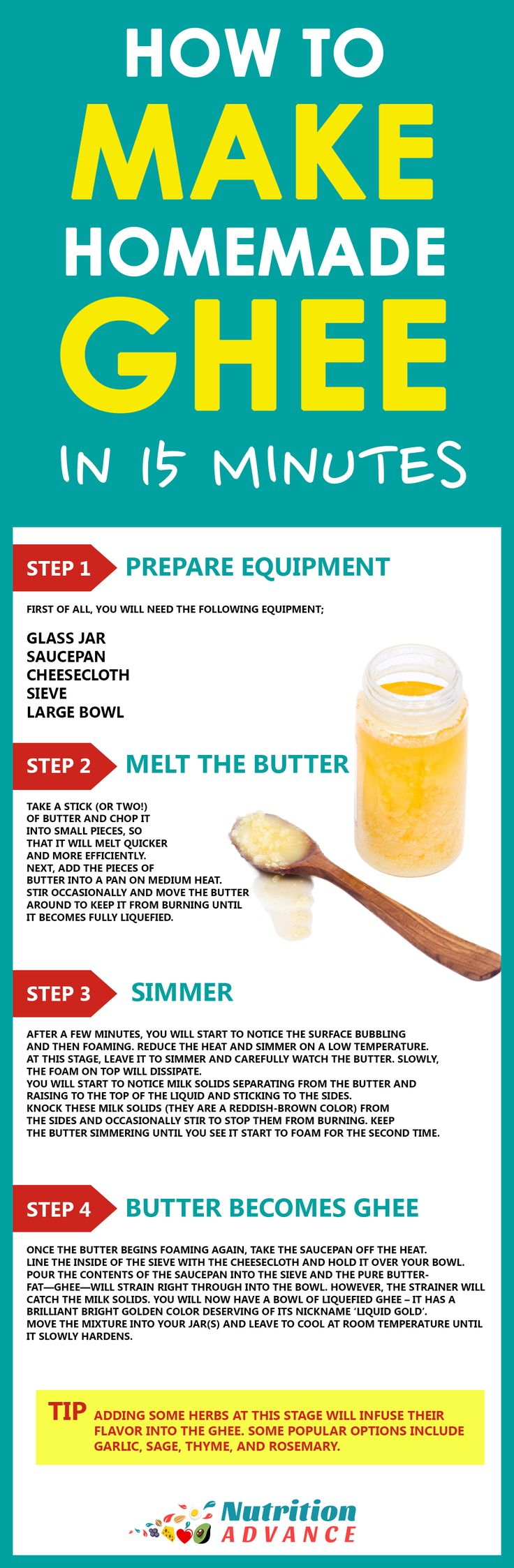 How to Make Ghee at Home in 15 Minutes! Ghee is delicious and full of healthy fats, but it is also a little expensive. However, if you have some butter then it is easily possible to make your own at home and it doesn't take long at all! This infographic shows how to make it in 4 easy steps.  Ghee is great for high heat cooking as a cooking oil, and works well in low carb diet such as keto or lchf. For more on ghee and how to make it, in addition to a look at the health benefits, see the…