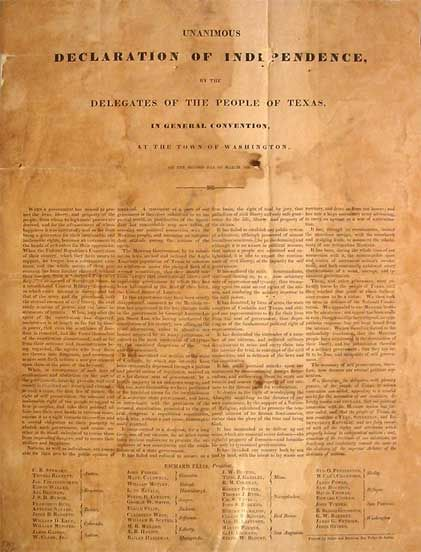 Texas Declaration of Independence ~ Texas is the only state that was ever a sovereign nation.