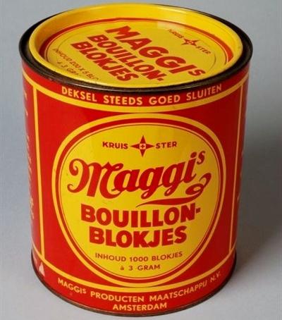 bouillonblokjes van Maggi Ik heb hem nog in mijn keuken kastje staan van mijn moeder.