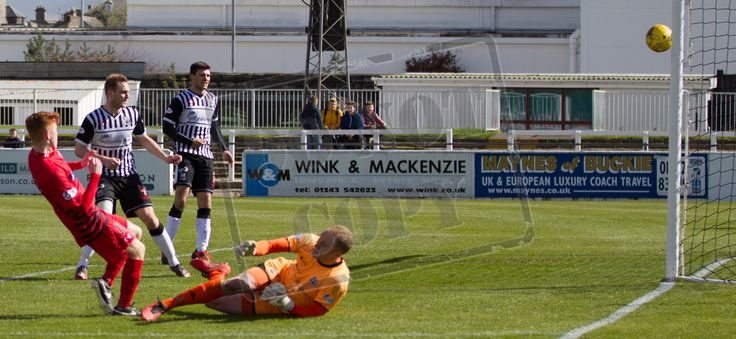 Queen's Park's Liam Brown scores his first senior goal during the SPFL League Two game between Elgin City and Queen's Park.