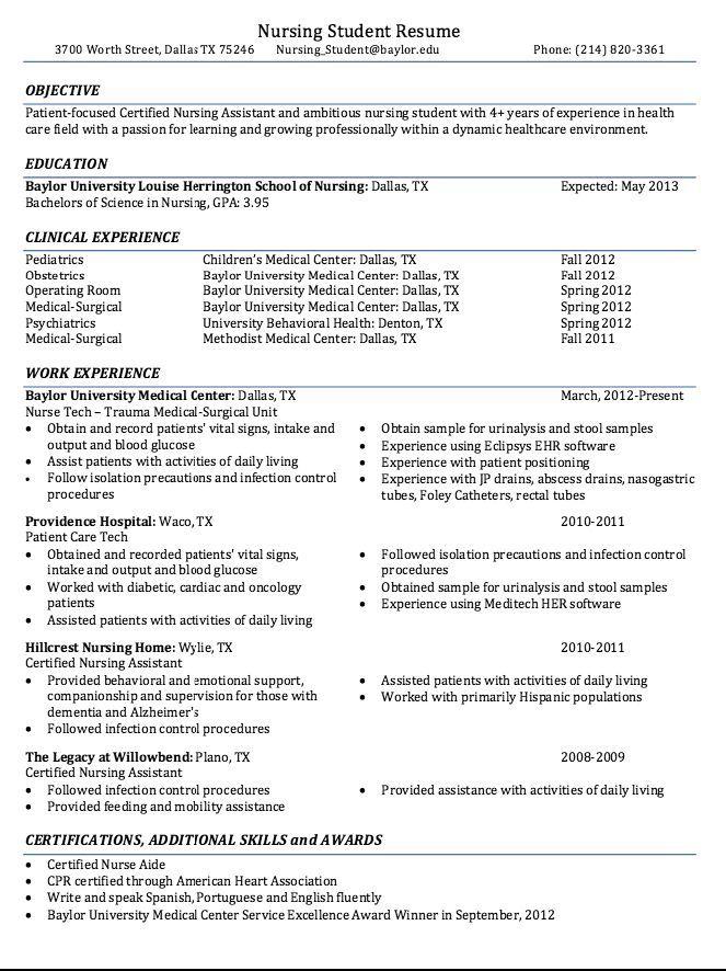 Certified Nursing Student Resume Sample http