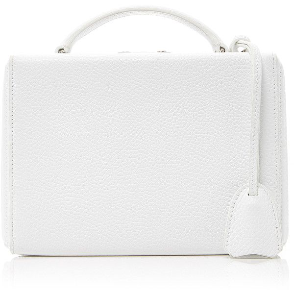 Mark Cross Small White Pebbled Leather Bag (£1,695) ❤ liked on Polyvore featuring bags, handbags, shoulder bags, white, white purse, shoulder handbags, white shoulder handbags, white handbags and mark cross