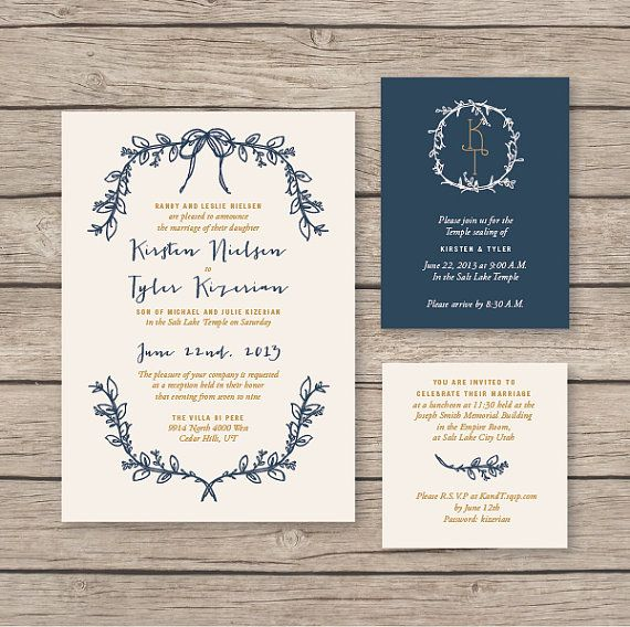 Navy & Gold invitation West end girl blog, available at mydetails on etsy