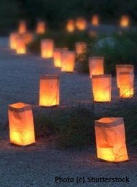 luminaries for winter solstice (also nature walks/feeding, Yule wreath/log, legends)