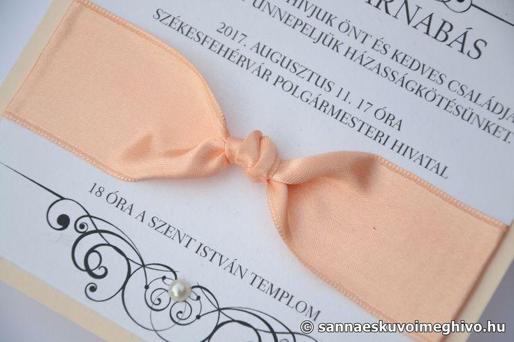 A hattyúk tava esküvői meghívó, meghívó, rózsaszín esküvői meghívó, szalagos esküvői meghívó, sannaeskuvoimeghivo, egyedi esküvői meghívó, wedding card