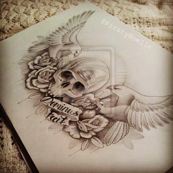 skull eagle and rose chest tattoo design by. Black Bedroom Furniture Sets. Home Design Ideas