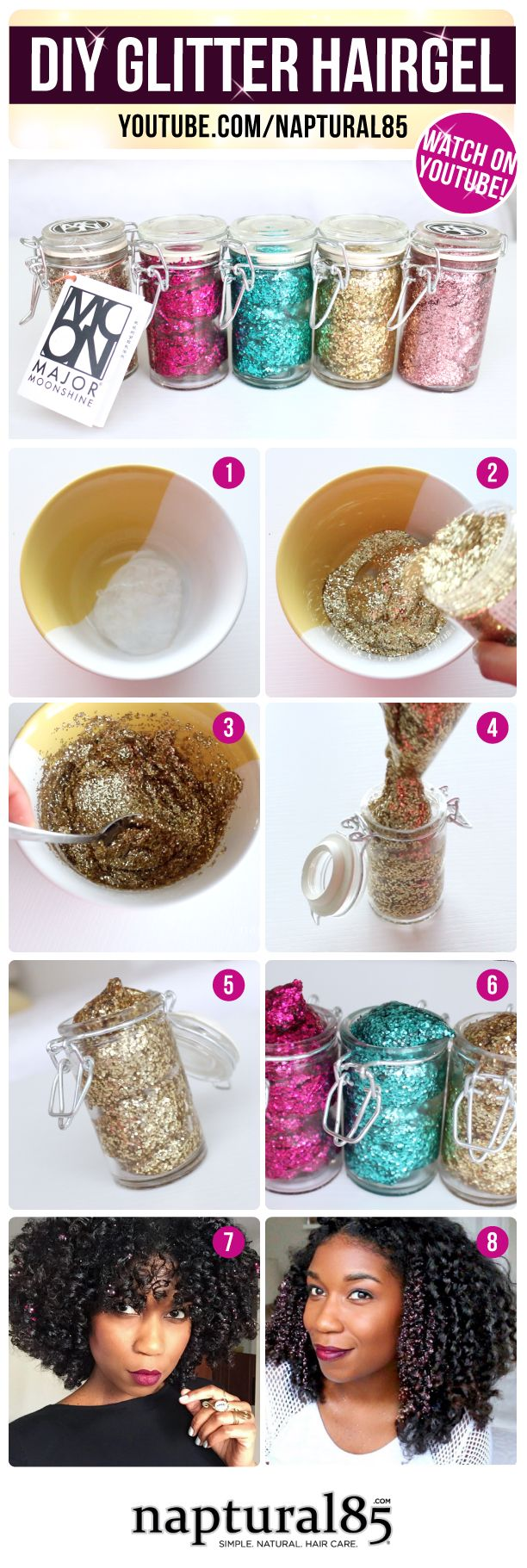 "Naptural85 - ""DIY Moonshine Glitter Gel Pomade + Glitter Hairstyles 