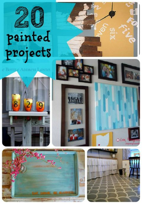 20 DIY Painted Projects to Inspire YOU!! -- Tatertots and Jello: Crafts Ideas, Paintings Collage, Simple Coats, Projects Ideas, 20 Paintings, Great Ideas, Paintings Projects, Diy Paintings, Diy Projects