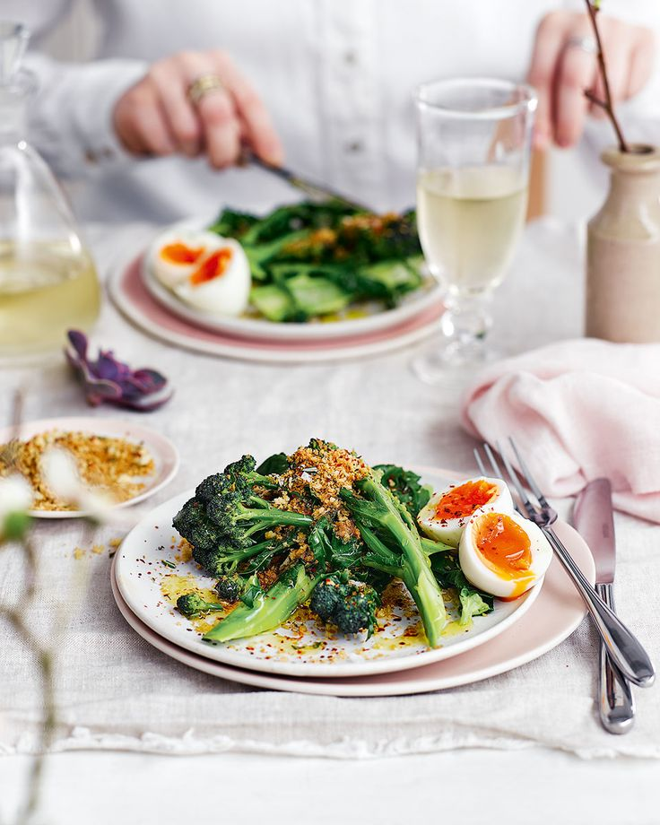 Purple sprouting broccoli with a soft-boiled egg and crisp rosemary breadcrumbs - The addition of rosemary breadcrumbs and a perfectly soft-boiled egg transforms this simple dish from side to starter.