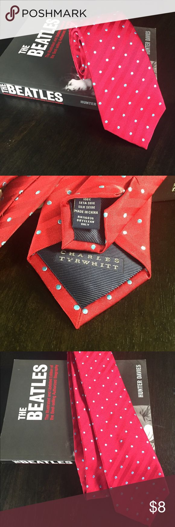 Classy Men's Polka Dot Silk Tie 👔 Bright cherry red with baby blue dots. EUC- by Charles Tyrwhitt. 100% Silk. Charles Tyrwhitt Accessories Ties