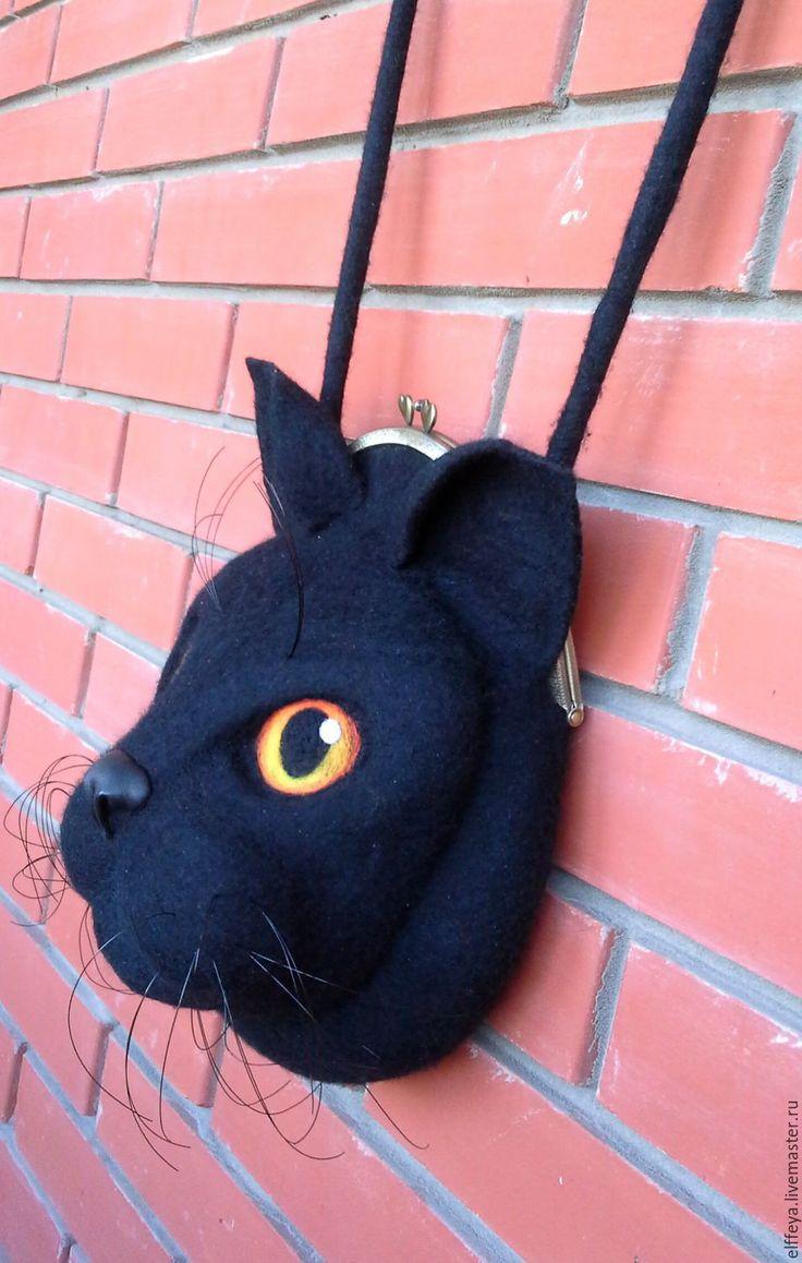 """Купить Сумочка """"Черный кот"""" - черный, однотонный, кот, черный кот, сумка ручной…"""