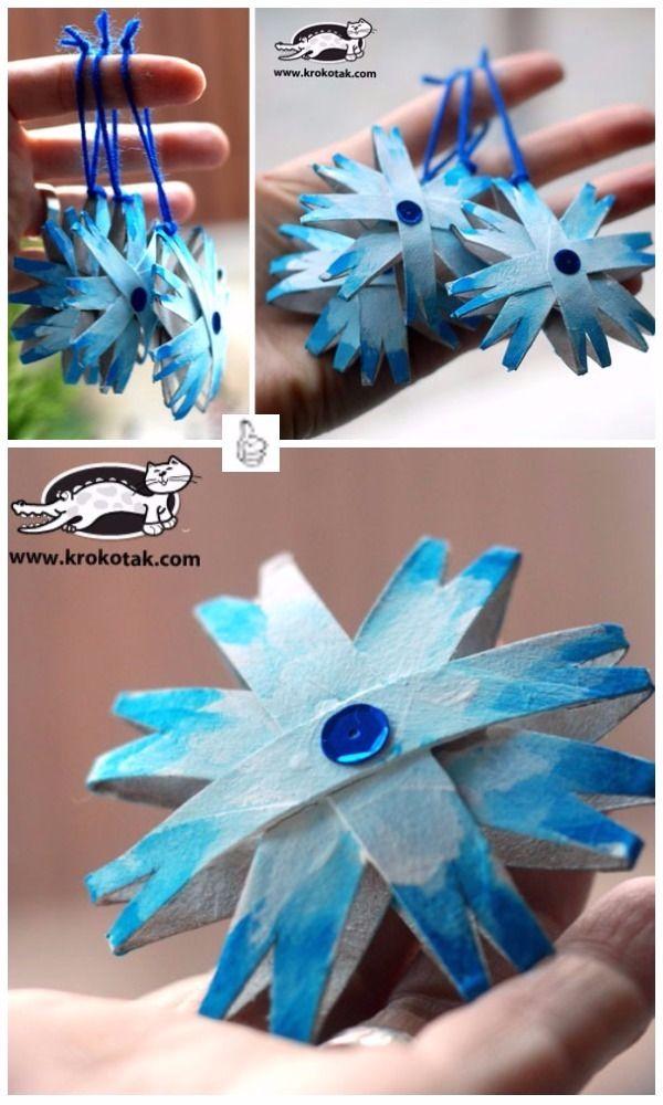 DIY Toilet Paper Roll Christmas Craft Project Tutorials-DIY Toilet Paper Roll Snowflake Ornament Tutorial